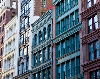 New York Architecture Photography, NY Art, Manhattan Prints, New York Architecture Print, Noho Prints, Teal Wall Art, Side by Side