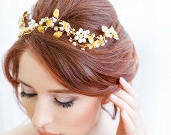 Pearl Crown, Hair Vine, Gold Bridal Headpiece, Crystal Crown, Fresh Water Pearl Headband - Floral Crown, Wedding Accessory