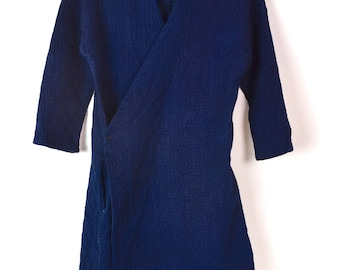 Natural Indigo dyed quilts crossover coat
