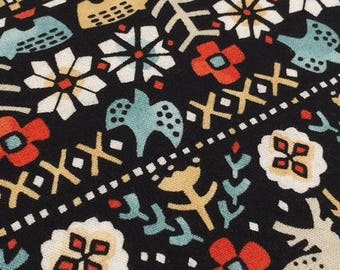 Cotton fabric Japanese Sevenberry - flowers and animals Deco naive style - 50 cm (110 x)