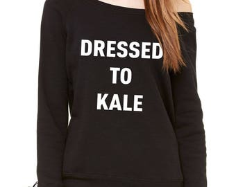 Dressed To Kale Slouchy Off Shoulder Oversized Sweatshirt