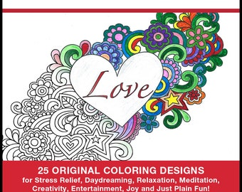 Heart Coloring Pages - PRINTED BOOK - Heart Coloring - 25 Original Coloring Designs for Stress Relief & Relaxation