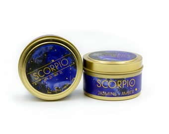 Travel Astrological Candle // Scorpio // Water Sign // 100% Natural Soy Wax // Gifts for her // Gifts for him // Scorpio Gifts