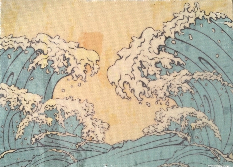Japanese Waves Wall Art Print waves art beach decor