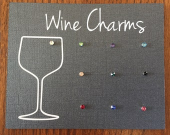 Magnetic Wine Charms - Set of 10 - Swarovski Crystal Drink Markers