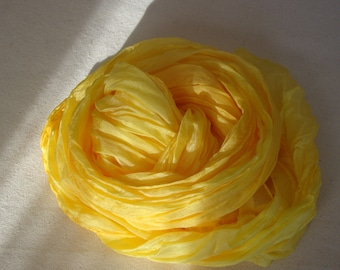 Yellow silk crinkle scarf, women's feather light sunny yellow scarf.