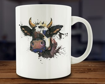 Cow Mug, Watercolor Cow Coffee Mug, Farm Animal Mug,  Kitchen Art (A169)
