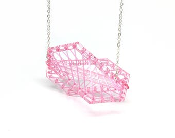 Medium Pink Kaleidoscopic Necklace - Bold Statement Laser Cut Hand Dyed Acrylic Perspex Geometric Elastic Thread Necklace on Silver Chain