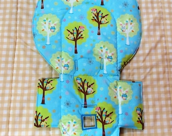 highchair Evenflo padded replacement high chair cover, baby chair accessory, baby and child care furniture pad, kids feeding chair, owl tree