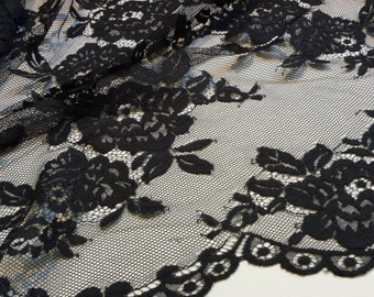 Black Lace fabric, French Lace, Embroidered lace, Wedding Lace, Bridal lace, Evening dress lace, Lingerie Lace, Chantilly Lace L66322