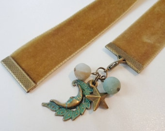 Velvet Bookmark W/Moon and Stars