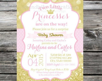 12 Printed Invitations By Serendipity Celebrations - Pink Gold Princess -Crown -Birthday -Baby Shower - Twins -Printing Service