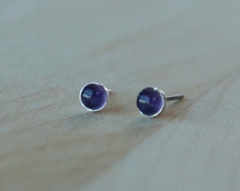 Amethyst Gemstone 4mm Bezel Set on Niobium or Titanium Posts (Hypoallergenic Stud Earrings for Sensitive Ears)