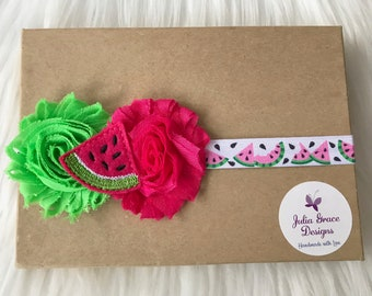 Watermelon Headband, Summer Headband, Baby Headband, Baby Girl Headband, Newborn Headband, Infant Headband, Girl Headband, Watermelon Bow