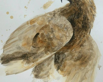 Golden Eagle Watercolor PRINT -SALE-buy 2 get 1
