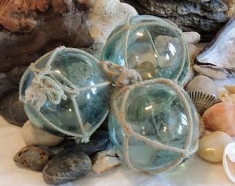 3 Unique Vintage Japanese GLASS FISHING FLOATS.. Marks, Nets, Color Variations & Bubbles (#64)