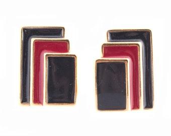Monet Enamel Rectangle Earrings
