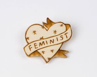 Feminist Illustrated Wooden Heart Brooch, Laser Cut Wooden Jewellery