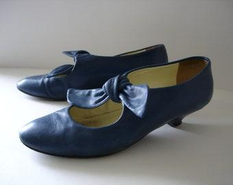 Blue Leather Shoes - Mary Janes - UK Size 4