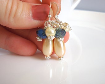 Peach Blue Cream and Champagne Silver Pearl and Crystal Earrings - Cluster Drops - Light Orange, Denim Blue, Gold - Sterling Silver Option