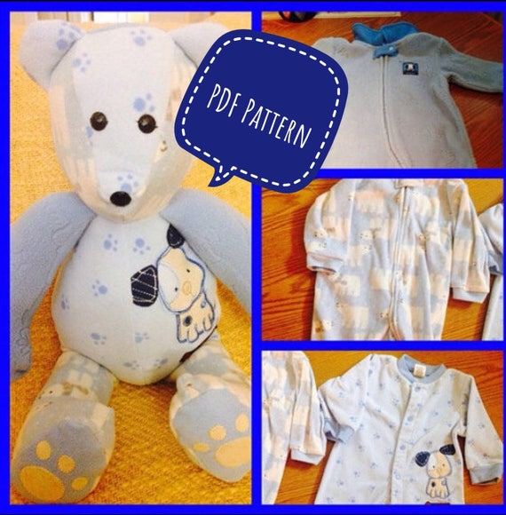 Memory Bear pattern, complete instructions, PDF format, instant download, keepsake bear pattern, made from childrens clothes, 20