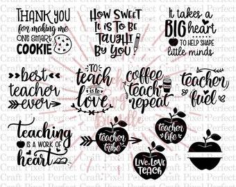 Teacher Svg Bundle, Teacher Quotes Svg, Teacher Appreciation Svg, Svg Bundle, Teachers Gift Svg, Teacher Svg, Teacher Love Svg, Teaching Svg