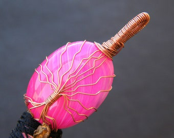 Pink Agate Pendant Copper Wire Wrapped Gemstone Pendant Handmade Pendant Jewelry
