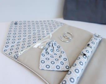 Dress handkerchief with jewels drops blue