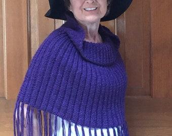 purple fringed hand knit poncho