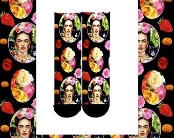 Frida Kahlo Designer Art Socks - Lush - Feralartist Exclusive - Artsy - Artists - Frida Kahlo clothing