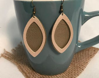 Double layer leaf shaped faux leather earrings
