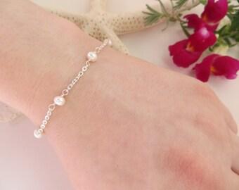 Pearl Bracelet, Freshwater Pearl Bracelet, Sterling Silver Bracelet, June Birthstone Bracelet, Bridesmaids Dainty Pearl Wedding Bracelet