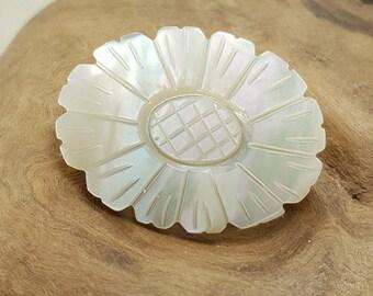 Vintage Carved Mother of Pearl Flower Brooch