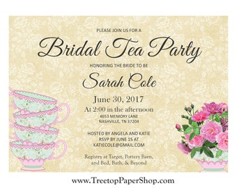 Teacup Bridal Shower, Baby Shower, Birthday Invitations, Printed, Affordable and Top Quality! Fast Turnaround!