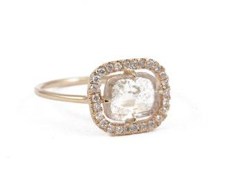14K Gold Diamond Ring, Diamond Slice Ring, Engagement Ring, Pave' Diamond Ring, Natural Diamond, Mothers Day Personalized Gift.