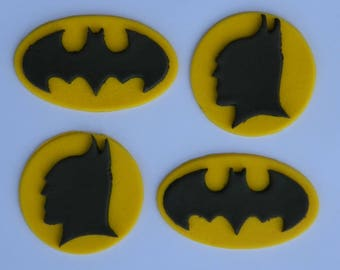 12 edible BATMAN LOGO & HEAD silhouette Avenger marvel dc superHero comic cake cupcake topper decoration party wedding birthday engagement