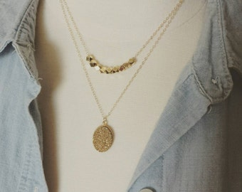 Druzy layered necklace set, druzy and gold nuggets, modern classic jewelry