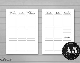 Weekly Box Planner Inserts - A5 Printable - Calligraphy Script Weekly Spread with Boxes for Stickers and Decorations - Vertical Week Layout
