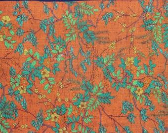 Pumpkin wool Kimono fabric with Japanese motif, Sold per 1/2 meter.
