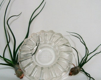 Pro-Tec-To Glass Ashtray Vintage Clear Depression Glass Patented ProTecTo Pro Tec To