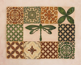 Green&Ochre Ceramic Rustic Tiles for Kitchen/Bathroom Backsplash