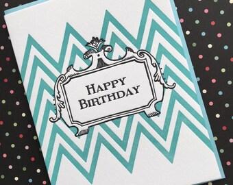 ZigZag Birthday - letterpress card