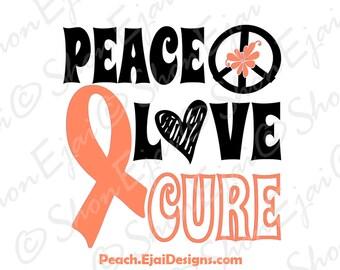 Uterine Cancer Svg, Endometrial Cancer Svg, Peach, Cancer Svg, Cancer Ribbon Svg, Awareness Svg, Awareness Ribbon Svg