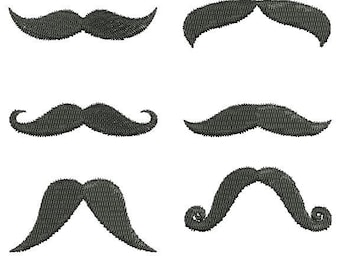 12 Mustache Styles Embroidery Design