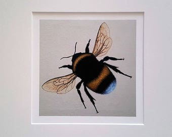 Mounted giclee print of original oil painting: bumblebee