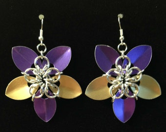 Fan Maille - Purple, Gold,  and Silver Scale Flower Earrings