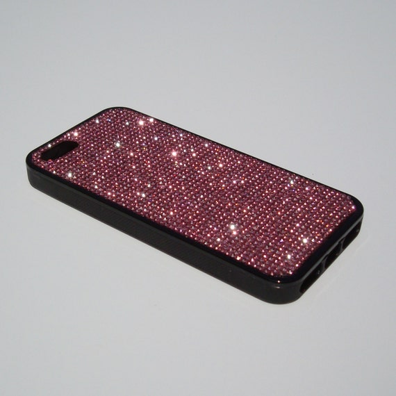 iPhone 5 / 5s / 5se Pink Diamond Rhinestone Crystals on Black Rubber Case. Velvet/Silk Pouch Bag Included, Genuine Rangsee Crystal Cases.