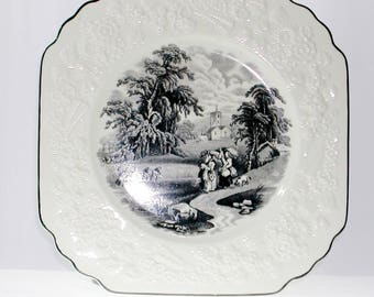 "George Jones and Sons Genoa Black White 8"" Plates Rhapsody Pattern"