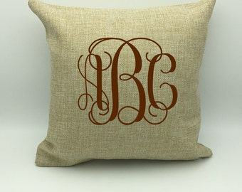 Monogram Burlap Pillow | Home Decor | Personalized Pillow  | Housewarming Gift | Wedding Gift |  Name Pillow | New Home Gift | Monogram Gift