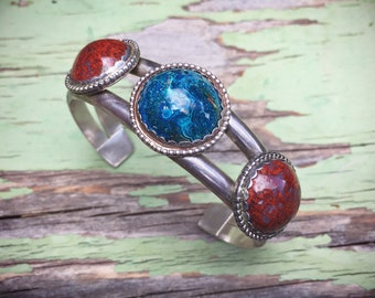 Blue and Red Jasper Cuff Bracelet Native American Indian Jewelry, Blue and Red Stone Bracelet